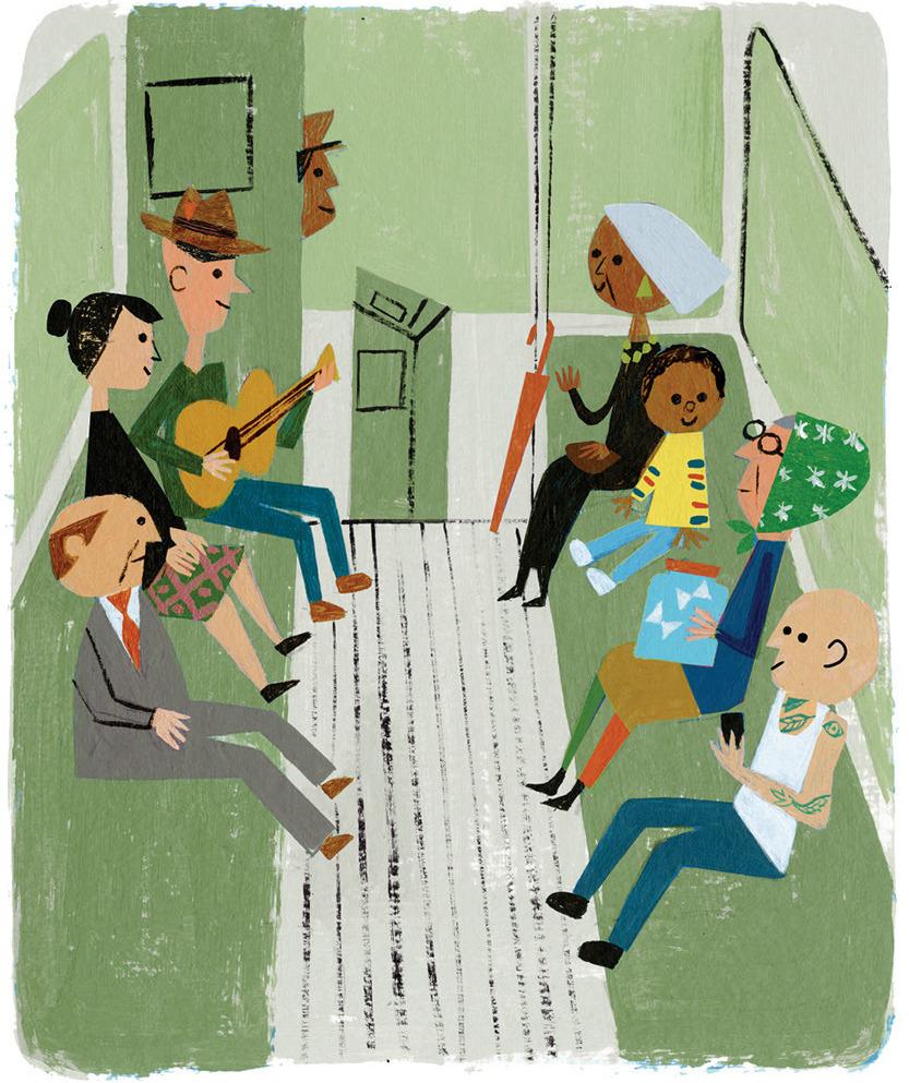 people on a bus illustration